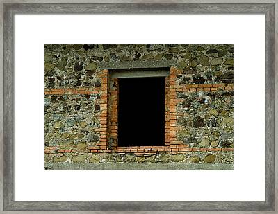 Window In The Wall Around Brolio Castle Framed Print by Todd Gipstein