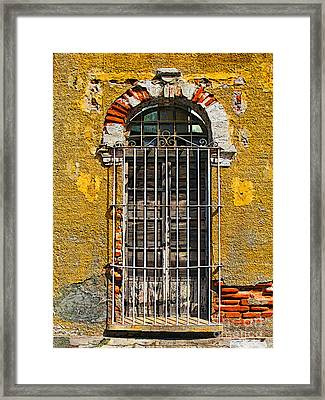 Window In The Yellow Wall By Darian Day Framed Print by Mexicolors Art Photography