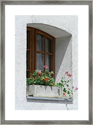 Window In Zermatt Framed Print by Christine Amstutz