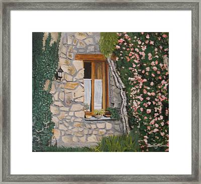 Framed Print featuring the painting Window Ledge  France by Betty-Anne McDonald