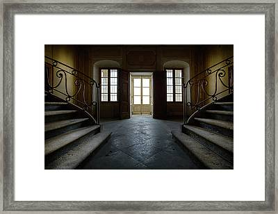 Framed Print featuring the photograph Window Light On Dark Stairs by Dirk Ercken