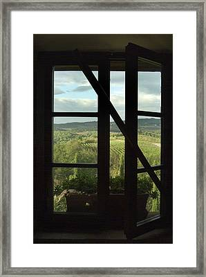 Window Looking Out Across Vineyards Framed Print by Todd Gipstein