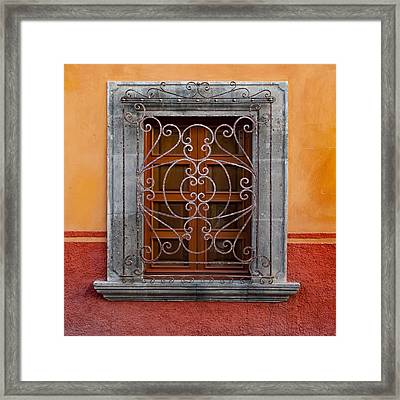 Window On Orange Wall San Miguel De Allende Framed Print by Carol Leigh