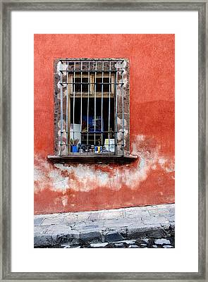 Window On Red Wall San Miguel De Allende, Mexico Framed Print by Carol Leigh