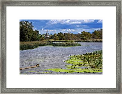 Window On The Waterfront With Ducks Framed Print by Michelle Calkins