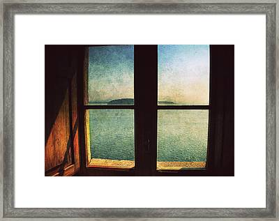 Window Overlooking The Sea Framed Print