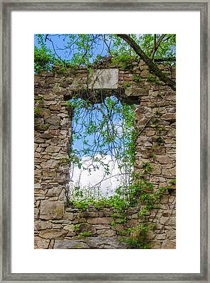 Framed Print featuring the photograph Window Ruin At Bridgetown Millhouse Bucks County Pa by Bill Cannon
