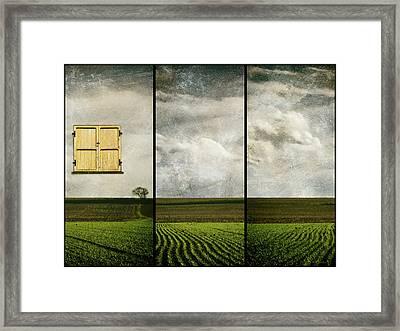Window To Farmland Triptych Framed Print by Wim Lanclus