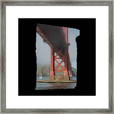 Framed Print featuring the photograph window to the Golden Gate Bridge by Stephen Holst