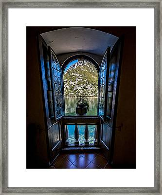 Window To The Lake Framed Print