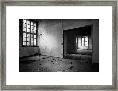 Window To Window - Abandoned School Building Bw Framed Print by Dirk Ercken