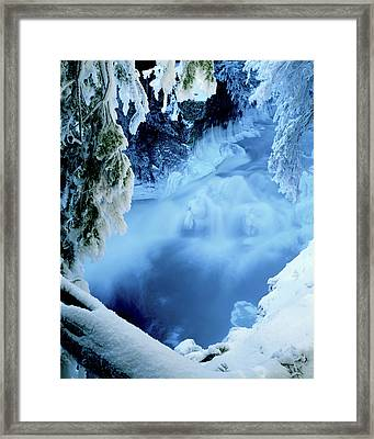 Window To Winter's Blues Framed Print