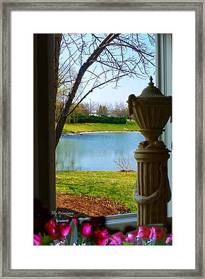 Framed Print featuring the pyrography Window View Pond by Elly Potamianos