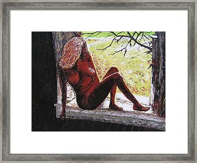 Window View Framed Print by Ricklene Wren