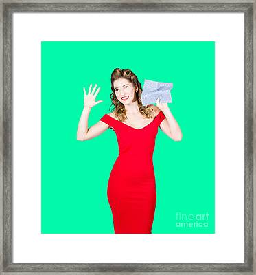 Window Wash Pinup Girl Wiping Clean Copyspace Framed Print