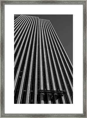 Window Washers View - Black And White Framed Print