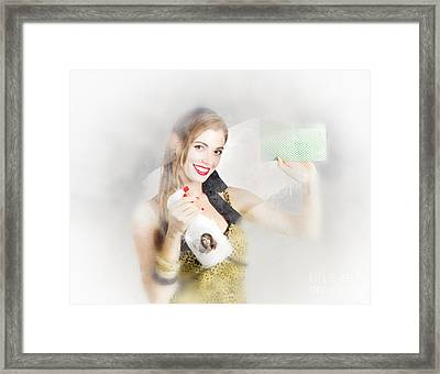 Window Wiper Pinup Woman Framed Print by Jorgo Photography - Wall Art Gallery