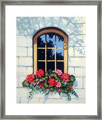 Window With Flower Box Framed Print