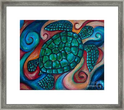 Windowpane Sea Turtle Framed Print by Linda Olsen