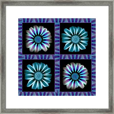 Windowpanes Brimming With  Moonburst Stripes Of Flowers - Scene 2 Framed Print by Jacqueline Migell