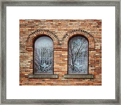 Windows - First Congregational Church - Jackson - Michigan Framed Print by Nikolyn McDonald