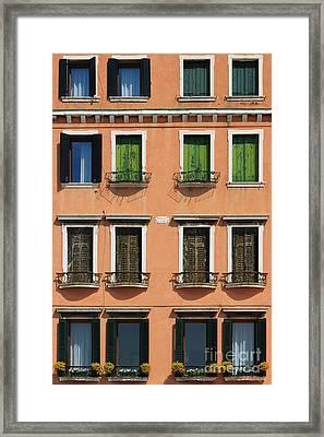 Windows In Venice Framed Print by Henk Meijer Photography