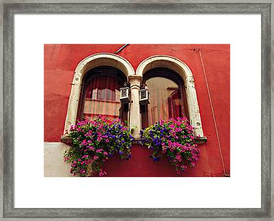 Windows In Venice Framed Print by Tamara Sushko