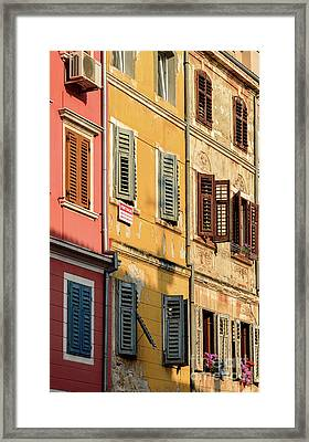 Windows Of Rovinj, Istria, Croatia Framed Print