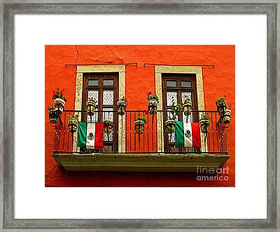 Windows With Flags Framed Print by Mexicolors Art Photography