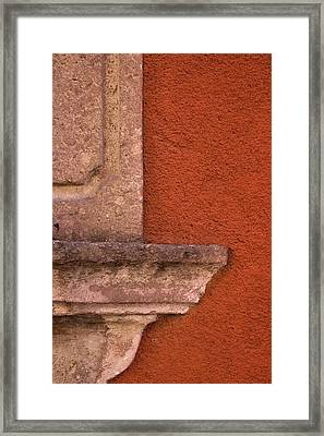 Windowsill And Orange Wall San Miguel De Allende Framed Print by Carol Leigh