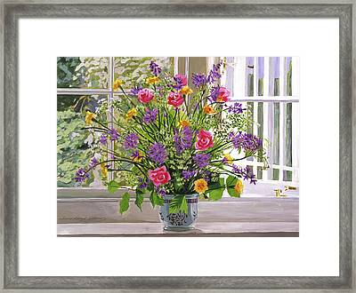 Windowsill Bouquet Framed Print