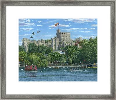 Windsor Castle From The River Thames Framed Print by Richard Harpum