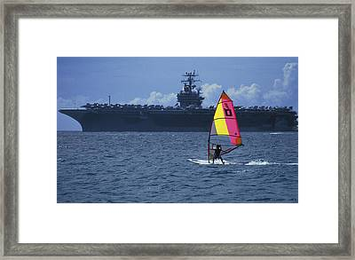 Framed Print featuring the photograph Windsurfer And Aircraft Carrier by Carl Purcell