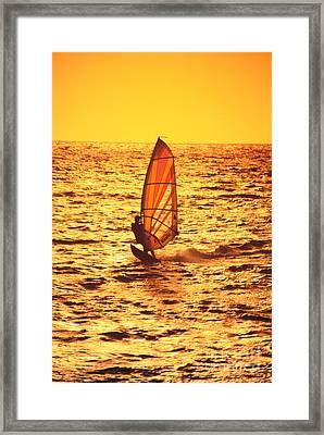 Windsurfer At Sunset Framed Print