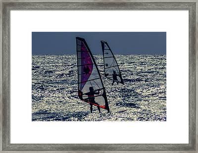 Windsurfers Framed Print by Stelios Kleanthous
