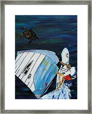 Windsurfing And Sea Turtle Framed Print by Gregory Allen Page
