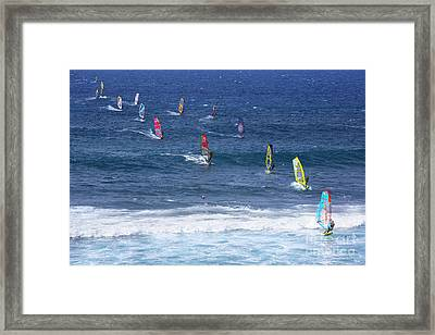 Windsurfing In Maui Hawaii Framed Print by Diane Diederich