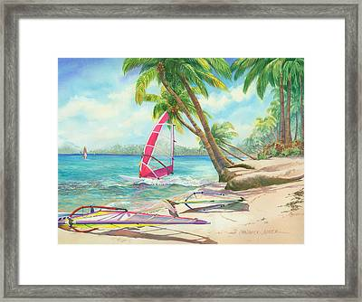 Windsurfing The Tropics Framed Print by Marguerite Chadwick-Juner