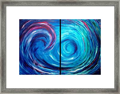 Windswept Blue Wave And Whirlpool 2 Framed Print by Nancy Mueller