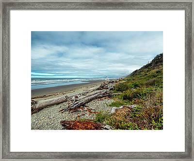 Windy Beach In Oregon Framed Print