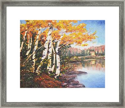 Framed Print featuring the painting Windy Birches by Diane Daigle