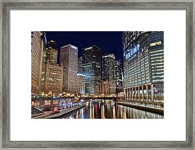 Windy City Lights On The River Framed Print