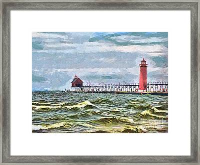 Windy Day At Grand Haven Lighthouse Framed Print