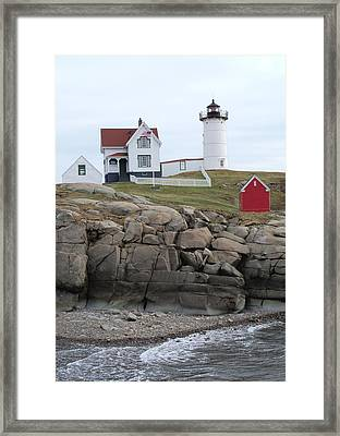 Windy Day At Nubble Light Framed Print