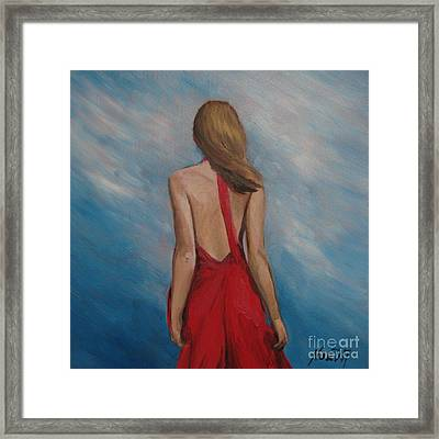 Framed Print featuring the painting Windy Day by Jindra Noewi