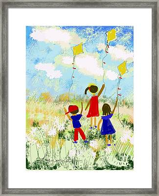 Framed Print featuring the digital art Windy Days by Elaine Lanoue