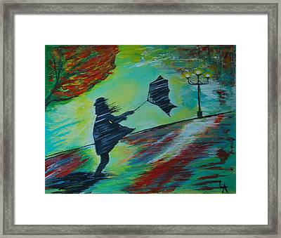 Framed Print featuring the painting Windy Escapade by Leslie Allen