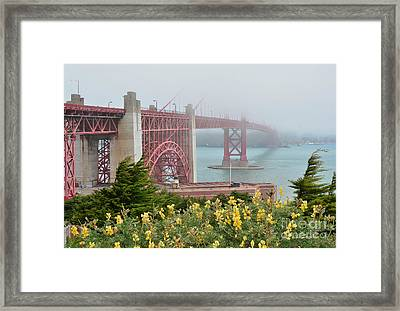 Windy Foggy Golden Gate Bridge  Framed Print