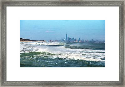Windy View Of Nyc From Sandy Hook Nj Framed Print