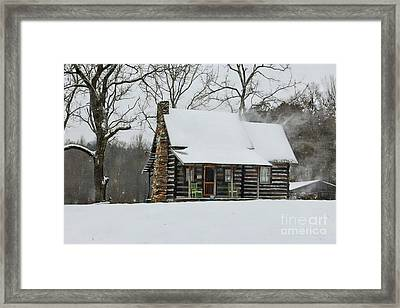 Windy Winter Day At The Cabin Framed Print
